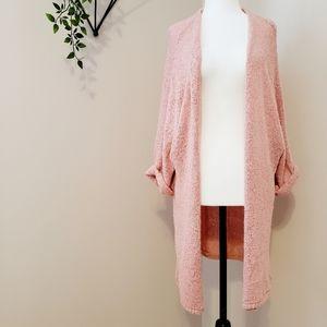 Blush Crochet Dolman Sleeve Open Front Cardigan M